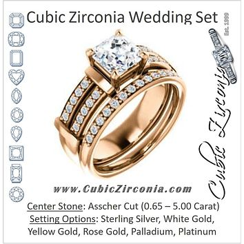 CZ Wedding Set, featuring The Rachana engagement ring (Customizable Asscher Cut Design with Wide Split-Pavé Band and Euro Shank)