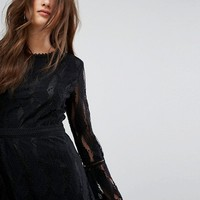 Boohoo Flare Sleeve Lace Insert Dress at asos.com