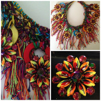 Bohemian statement, gypsy  fiber art necklace  ,crochet,  hand dyed mulberry silk yarn,  handpainted crystal navette,one-of-a-kind,colorful