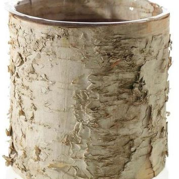 "Birch Cylinder Vase Rustic Wedding Decorations - 5.5"" Tall x 6"" Wide"