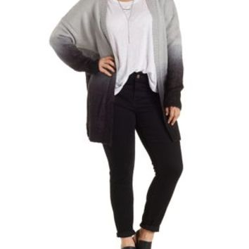 Plus Size Slouchy Ombre Cardigan Sweater