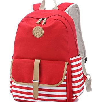 School Backpack Cute Lightweight Canvas Stripe Bookbags Water Resistant s Most Durable School Bag for Teenage Girls and kids AT_48_3