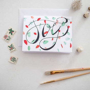 Holiday Greeting Cards - Christmas Joy - Hand Lettering & Watercolor - Set of 8