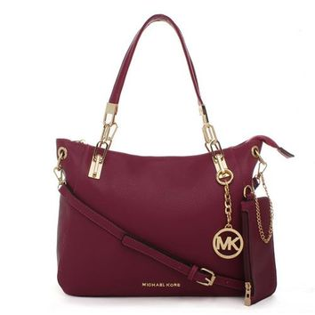 Michael Kors Cynthia Logo Large Fuchsia Satchels, Your First Choice