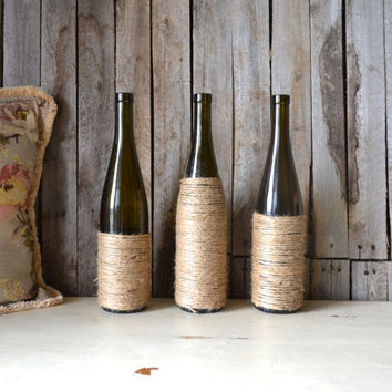Set of 3 Wine Bottle Vases with Jute
