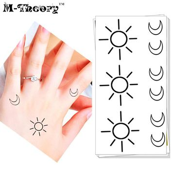 COOL Fashion Tattoo Stickers Water Transfer Temporary Body Art Waterproof 3-5 Days Small Sun Moon Designs