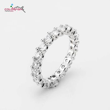 COLORFISH 2.33 Ct Round Cut 925 Sterling Silver Eternity Rings For Women Fashion Jewelry Full Prong Set 3mm Sona Wedding Band