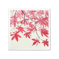 red maple leaves paper napkin