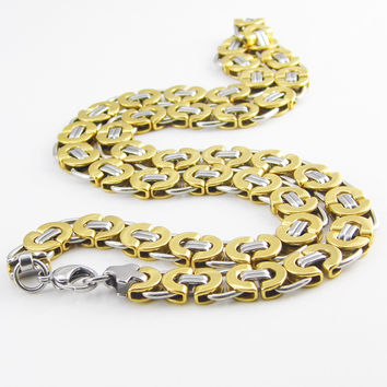 55 cm Length 11mm Width Byzantine Stainless Steel Necklace MENS Boys Chain Necklace Gold Tone Fashion Men Jewelry