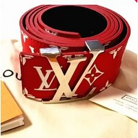 LV and Supreme  Red Woman Fashion Smooth Buckle Belt Leather Belt Red