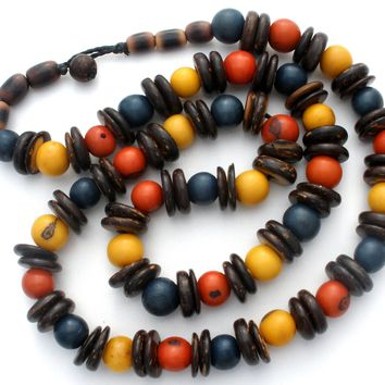 Multi Color Agate Gemstone Bead Necklace 21""