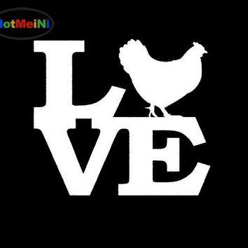 HotMeiNi  Chicken Love Decoration Sticker for Car Window Truck Bumper Auto SUV Door Car-styling Vinyl Decal Rooster Eggs Coop