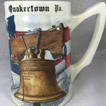 Vintage Quakertown Pa Liberty Bell Beer Mug Stein Cup USA Hand painted