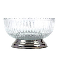 Vintage Serving Bowl, Pressed Glass, Chrome Base, Vegetable Dish