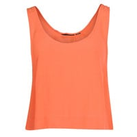 Womens Orange Cropped Vest Top