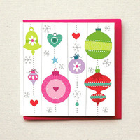 Christmas Cards, Colorful Pink and Green Retro Ornaments. Hand Drawn Greeting Card. Illustrated Stationery Card.
