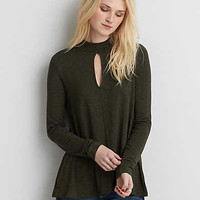 AEO Soft & Sexy Mock Neck T-Shirt , Olive