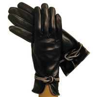 Black/Gray Refined Womens Silk-lined Italian Leather Gloves With Knot