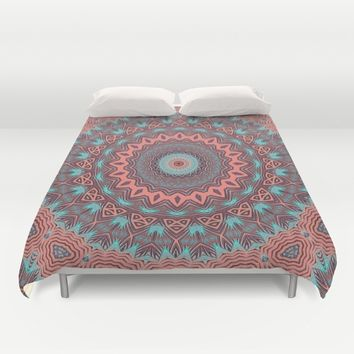 Tribal Medallion Rust Duvet Cover by ALLY COXON