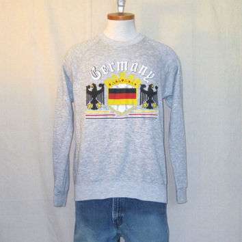 Vintage 1988 GERMANY GRAPHIC Heather Grey Medium Soft Thin Acrylic Poly Cotton Light Jumper SWEATSHIRT