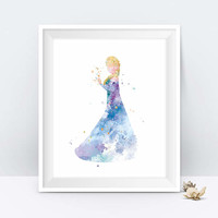 Princess Elsa Art Print Watercolor Printable Frozen Wall Art Disney Princess Elsa Wall decor Gift Nursery Kids Room Decor Digital Download