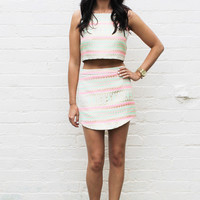 Metallic Aztec Top & High Waisted Mini Skirt Co-ord Set with Pink & Mint
