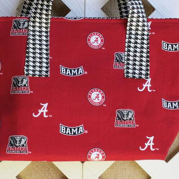 Alabama Tote with Houndstooth Trim by JRsPillowsandBags on Etsy