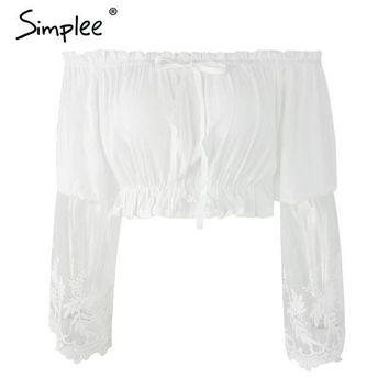 CREYL Simplee Summer off shoulder white lace women blouse Casual long sleeve beach girls crop tops Sexy embroidery bow blusas