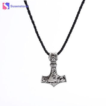 susenstone New Jewelry Thor Hammer Jewelry 2017 New Arrival Mjolnir Pendant Fashion Men Choker Black Pattern Pendant Necklace