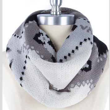 Grey Knit Scarf Tribal Infinity Scarf Aztec Scarf Best Selling Items Womens Fall Fashion Scarves  - By PIYOYO