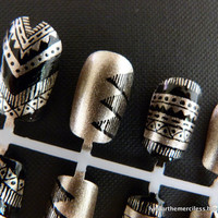 Black & Gold Aztec / Tribal Handpainted Nail Art Mix