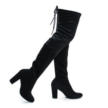 Snivy By Delicious, OTK Over Knee Thigh High Slouchy Boots w/ Back Lace Tie & Block Heel