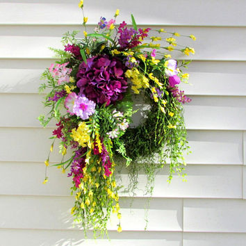 door wreath spring summer, purple hydrangea wreath, Rustic wreath, front door wreath, modern country decor, cottage decor, farmhouse wreath