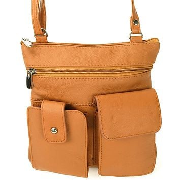Soft Leather Two Front Purse Tan Color Cross-body Style