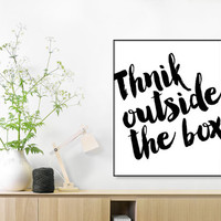 Typographic Print, Think Outside The Box, Wall Print, Scandinavian Design, Inspirational Quote Art, Black White Poster, Wall Decor