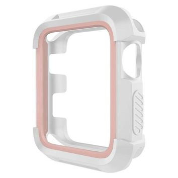 LMFGQ6 UMTELE Rugged Apple Watch Case 38mm, Shock Proof Bumper Cover Scratch Resistant Protective Case for Apple Series 3, Series 2, Series 1, White/Pink