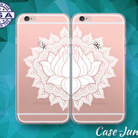 Lotus Flower Henna Floral Mandala Pair Case iPhone 5 iPhone 5C iPhone 6 Plus iPhone 6s iPhone 6s Plus and iPhone SE iPhone 7 Plus Clear Case