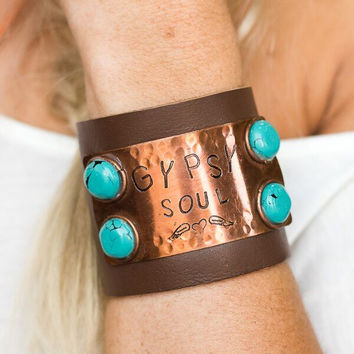 Gypsy Soul Leather Cuff With Turquoise Stones