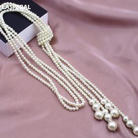 2018 LASPERA Fashion Imitation Pearl Long Tassels Necklace For Women Wedding Party Jewelry Statement Necklace & Pendants Jewelry
