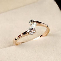 New & Fashion Women Rose Gold Plated Crystal Bridal Engagement Ring + Gift Box