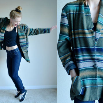 Vintage Southwestern Striped Cardigan Ethnic Bohemian Boho Jacket Mexican Aztec Style Blazer Blue Green Teal Womens Jacket