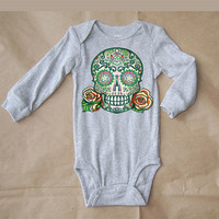 Tattoo Skull Baby Clothes long sleeve grey bodysuit. Unisex 3 month, 6 month Punk Rock Kids Clothes. Trendy Boy Cute Girl Rocker shirt