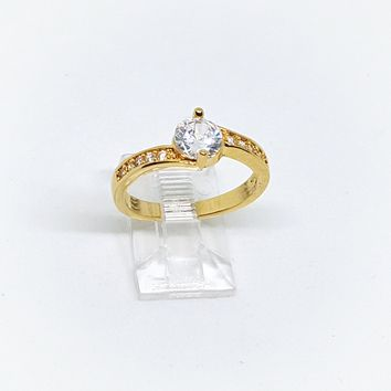 1-3102-h22 Gold Overlay Solitaire CZ Ring. (3 colors available)