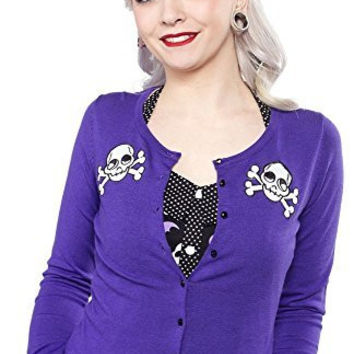 Sourpuss Skull & Cross Bare Bones Purple Cardigan Sweater