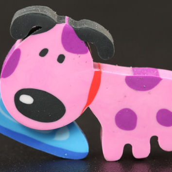 Pink Doggie with Frisbee Eraser