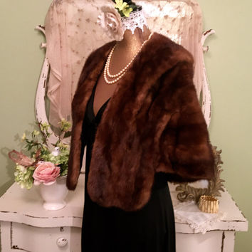 50s Vintage Mink Fur Stole, 1950s Fur Cape, Formal Fur Wrap, Brown Wedding Fur, Special Occasion Fur, Luxurious Fur Shawl, Fabulous!