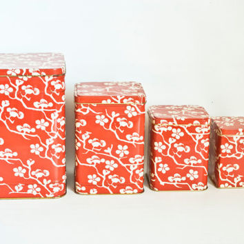 Vintage Plum Blossom Pattern Canister Set, Japanese Red White Storage Nesting Containers, Printed Tin Dry Good Storage Containers, England
