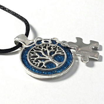 Autism tree of life pendant, Autism jewelry, puzzle charm necklace.