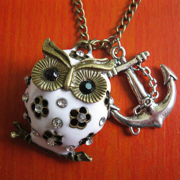 white cute owl and anchor necklace(gift box package)---X041