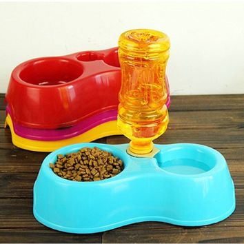 (Without Bottle)Plastic Dual Port Automatic Feeder Water Drinking Feeding Basin Bowls For Cats Pet Dogs